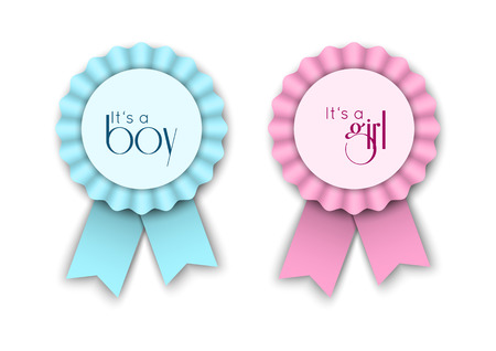 Two ribbon rosettes for newborn baby Reklamní fotografie - 35144326