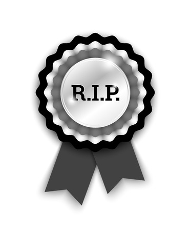 award ribbon rosette: black rosette with letters R.I.P. Illustration