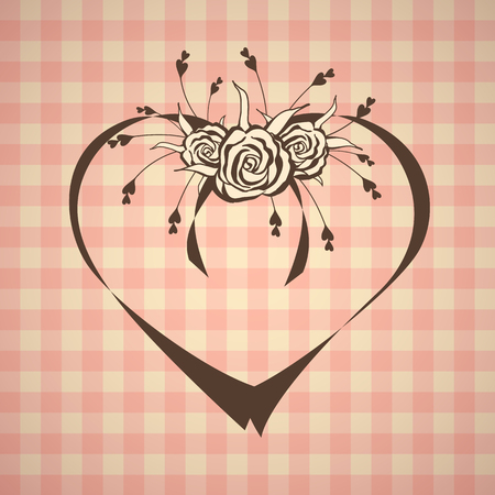 yellowed: abstract heart with roses on vintage background Illustration