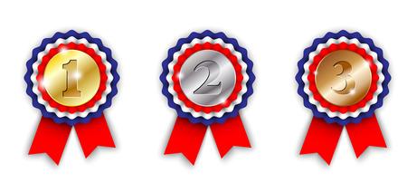 primer lugar: cintas de la concesión, primero, segundo y tercero lugar, sobre fondo blanco, ilustración vectorial, EPS 10 con transparencia y mallas de degradado Vectores