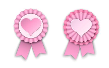 rosettes: two valentine pink ribbon rosettes, vector illustration.
