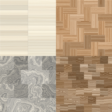 wood stone: collection of four wood seamless patterns, bitmap illustration Stock Photo