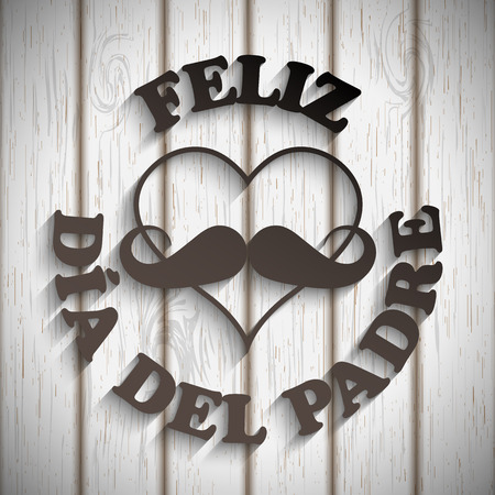 heart with a mustache and text feliz dia del padre on white wood