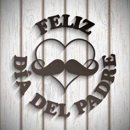 hart met een snor en tekst feliz dia del padre op wit hout Stock Illustratie