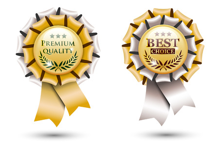 two golden ribbon rosettes, isolated on white background Vector