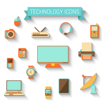 snaps: set of technology icons in flat style with long shadow
