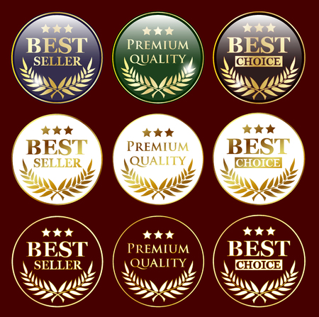 10 best: best seller, premium quality and best choice badges for web design or advertising, vector illustration, eps 10 with transparency Illustration