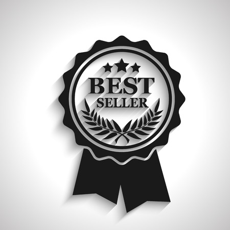 award ribbon rosette: best seller icon with long shadow, vector illustration