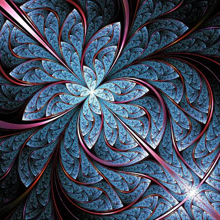 fractal pink: abstract blue fractal, digital artwork, illustration