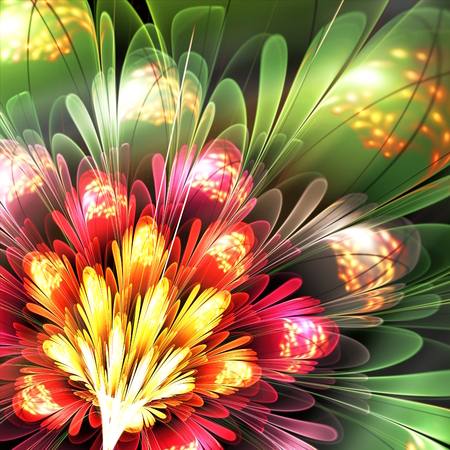 fractal pink: abstract red and green flower, computer generated fractal illustration Stock Photo