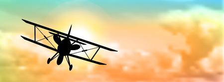 背景、ベクトル図、eps 10 透明度とグラデーション メッシュでカラフルな cloudscape で複葉機のシルエット 写真素材 - 36952349