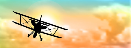 silhouette of biplane with colorful cloudscape in background, vector illustration, eps 10 with transparency and gradient mesh Ilustração