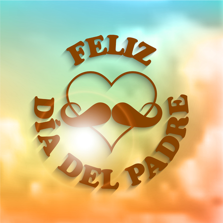 Heart with a mustache and text feliz dia del padre on abstract background with clouds  Illustration