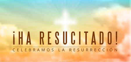 resurrección: Motivo de Pascua cristiana, con el texto Ha recusitado - Él ha resucitado, ilustración vectorial, EPS 10 con la transparencia y la malla de degradado Vectores