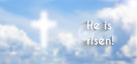 pasqua cristiana: Motivo di Pasqua cristiana, con testo Egli è risorto, illustrazione vettoriale, Vettoriali