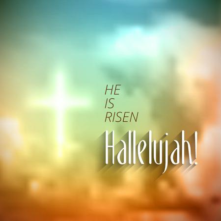 illustrazione sole: Motivo di Pasqua cristiana, con testo Egli � risorto alleluia, illustrazione vettoriale, eps 10 con trasparenza e maglie sfumatura