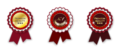 two red and golden ribbon rosette, isolated on white background, vector illustration, eps 10 with transparency Vector