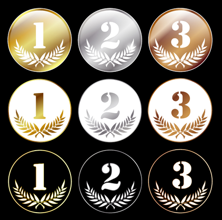 medals with numbers 1, 2 and 3, isolated on black background, eps 10 with transparency Vector