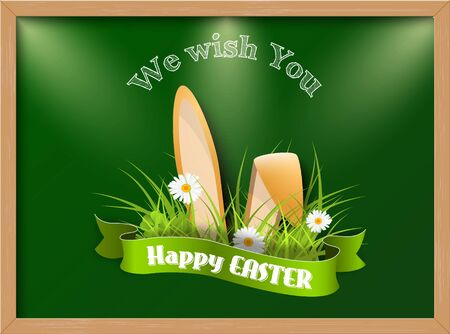Easter greeting card with fresh grass and ears of bunny on green background - vector illustration, eps 10, with transparency Illustration