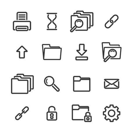 locked icon: Set of simple linear icons on white background, vector illustration, eps 10 Illustration