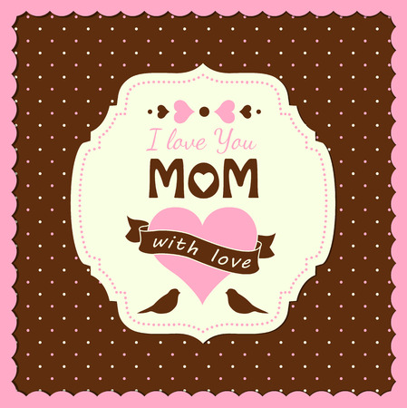 illustration with text I love you, mom, mothers day theme, vector illustration, eps 10 Vector