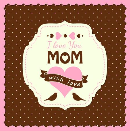 te amo: ilustraci�n con el texto Te amo, mam�, madres d�a tema, ilustraci�n vectorial, eps 10