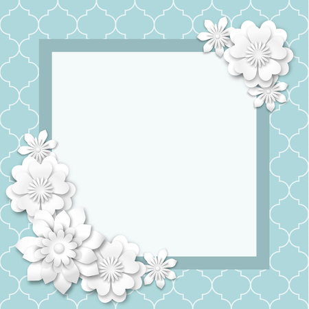 abstract background with white flowers with 3d effect, vector illustration, with transparency Vector