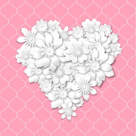 heart shape composed from white flowers with 3d effect on pink background, vector illustration, with transparency Vector