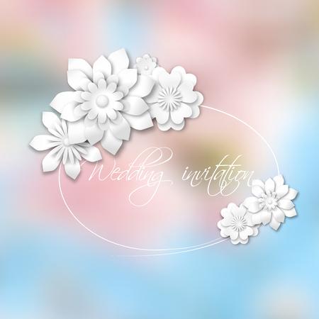 trouwkaart witte bloemen op roze en blauwe bokeh achtergrond vector illustratie eps 10 met transparantie