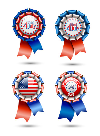 rosettes: Ribbon rosettes Independence day theme on white background vector illustration eps 10 with transparency