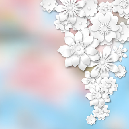 blue petals: 3d white flowers on abstract blurred background vector illustration eps 10 with transparency