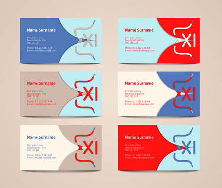 collection of colorful visiting cards, vector illustration, eps 10 with transparency Illustration