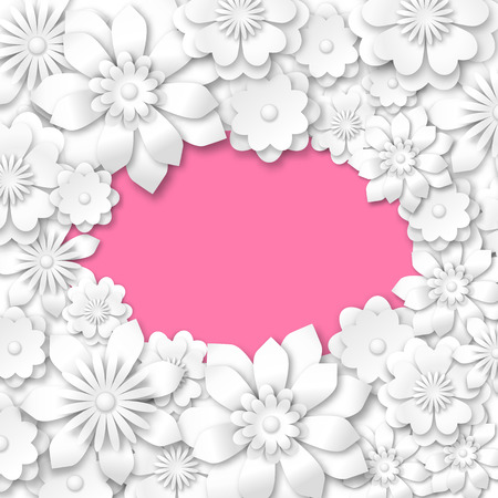 gradient meshes: abstract pink romantic background with white flowers, vector illustration, eps 10 with transparency and gradient meshes Illustration