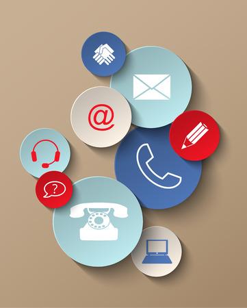 Grupa kolorowe naklejki kontaktu ikony, ilustracji wektorowych, z przejrzystości