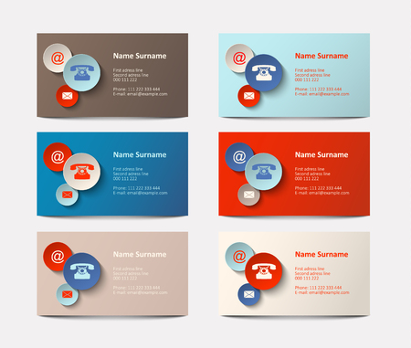 graphic presentation: Set of visiting cards with colorful icons vector illustration eps 10 with transparency