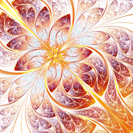 fiery: abstract fractal illustration in warm colors, plant or organic theme