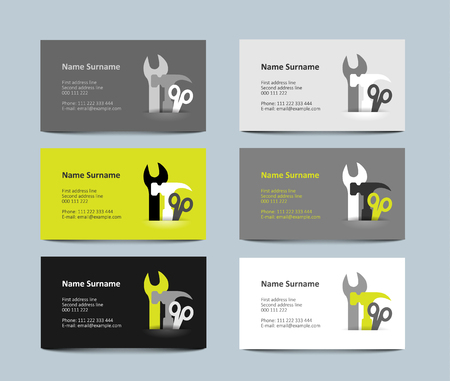fabrication: set of six  gray and green business cards, vector illustration, eps 10 with transparency