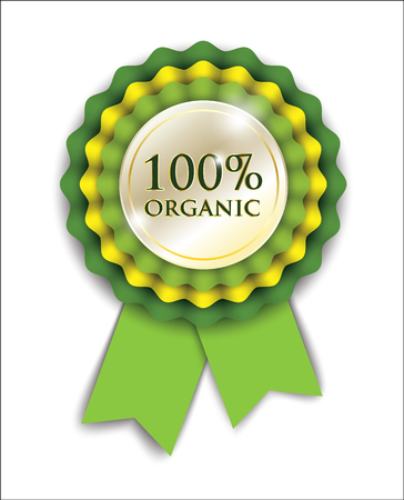 organic: 100 organic green ribbon rosette on white background for web design or advertising, vector illustration, eps 10 with transparency