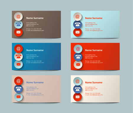 graphic background: set of colorful  business cards with icons, vector illustration, eps 10 with transparency Illustration