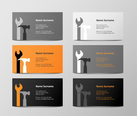 visit: set of six orange and gray business cards, vector illustration
