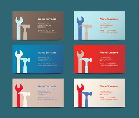 craftsmanship: set of six colorful business cards, vector illustration