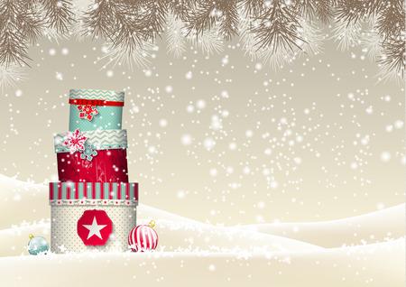 Kerst achtergrond met een stapel van kleurrijke geschenkdozen in besneeuwde landschap, vector illustratie, met transparantie en gradiënt mazen Stock Illustratie