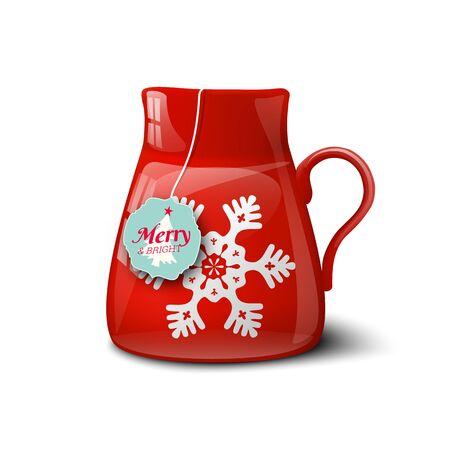 calor: Taza roja con copo de nieve, el motivo de la Navidad, sobre fondo blanco, ilustraci�n vectorial, EPS 10 con la transparencia y la malla de degradado
