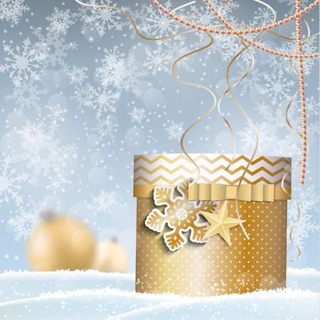 snowscape: golden gift box in snowdrift, Christmas motive, illustration, with transparency and gradient mesh