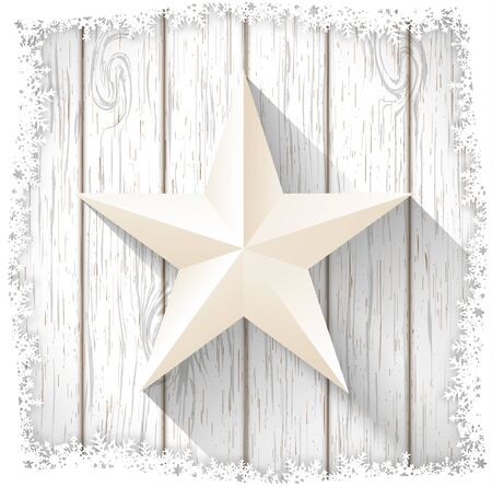 white wood: white star with 3d effect on white wood, christmas motive, vector illustration, eps 10 with transparency and gradient mesh