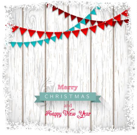 Décoratif texte de voeux de Noël sur le bois blanc, illustration vectorielle, eps 10 avec transparence et filet de dégradé Banque d'images - 43947146