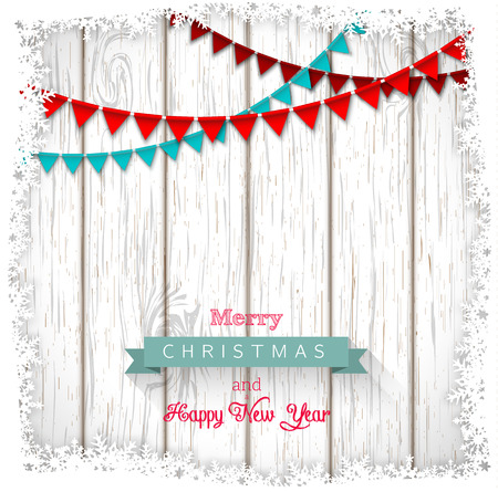 red christmas background: Decorative christmas greeting text on white wood, vector illustration, eps 10 with transparency and gradient mesh