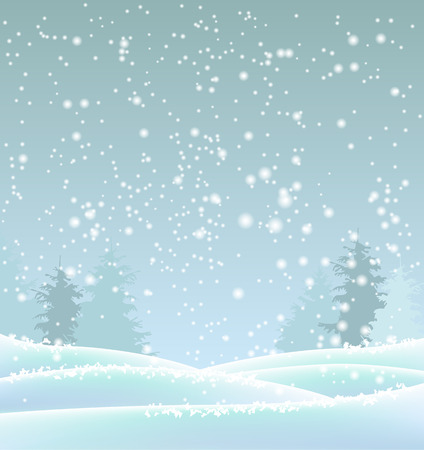 winter landscape, abstract blue winter background, vector illustration