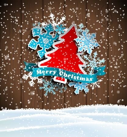 christmas theme, abstract tree and snowflakes on wooden background with snowdrift, vector illustration