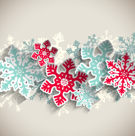 Abstract blue and red snowflakes on beige background with 3D effect, winter concept, vector illustration